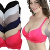 Full-Cup Lacy Push-Up Bras (6-Pack) (Size 44D)