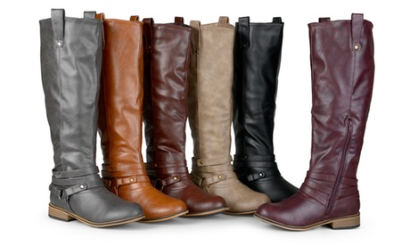 Journee Collection Women's Wide-Calf Ankle-Strap Knee-High Riding Boots