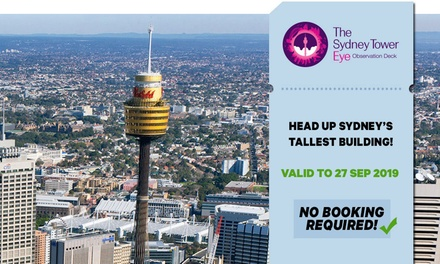 Sydney Tower Eye Entry: Child Aged 315 $16 or Adult Entry $23.20 Up to $29 Value