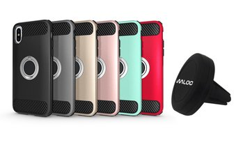 Waloo Dual-Layer Carbon Fiber iPhone Case and Alphaflex Car Mount