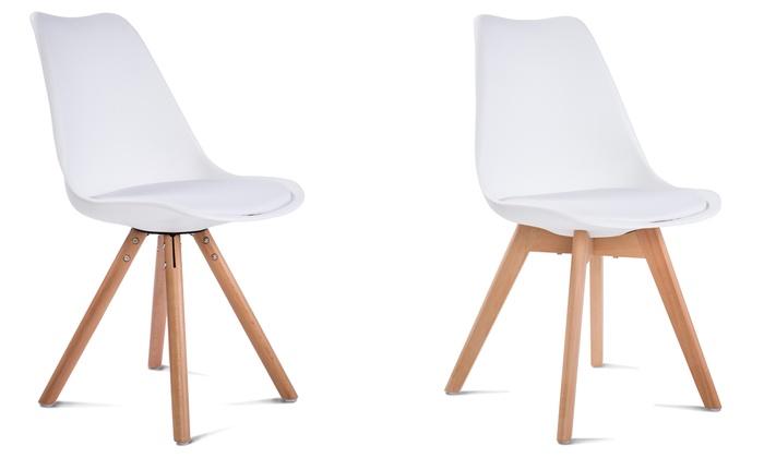 Pack de 4 sillas escandinavas groupon goods for Sillas blancas tapizadas