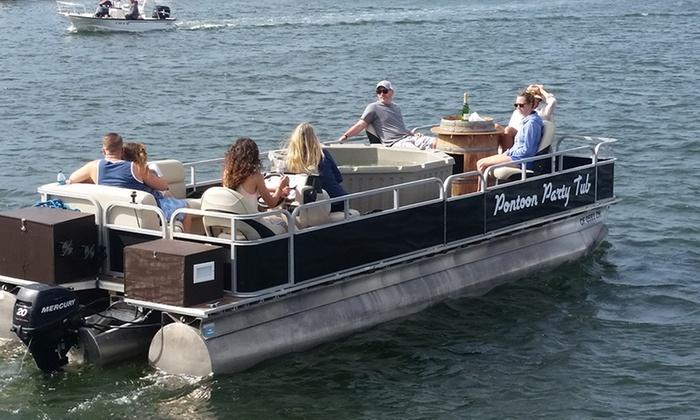 Pontoon Party Tub Newport Beach One  Minute Hot Tub Pontoon Boat Charter