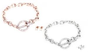 (Bijou)  Set bracelet et boucles d'oreilles -72% réduction