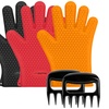 Silicone Heat-Resistant Barbecue Gloves and Bear Claws Set (4-Piece)