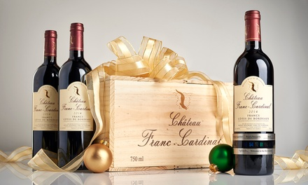 Three Bottles of Chateau Franc Cardinal Plus Wine Thermometer from Splash Wines (72% Off)