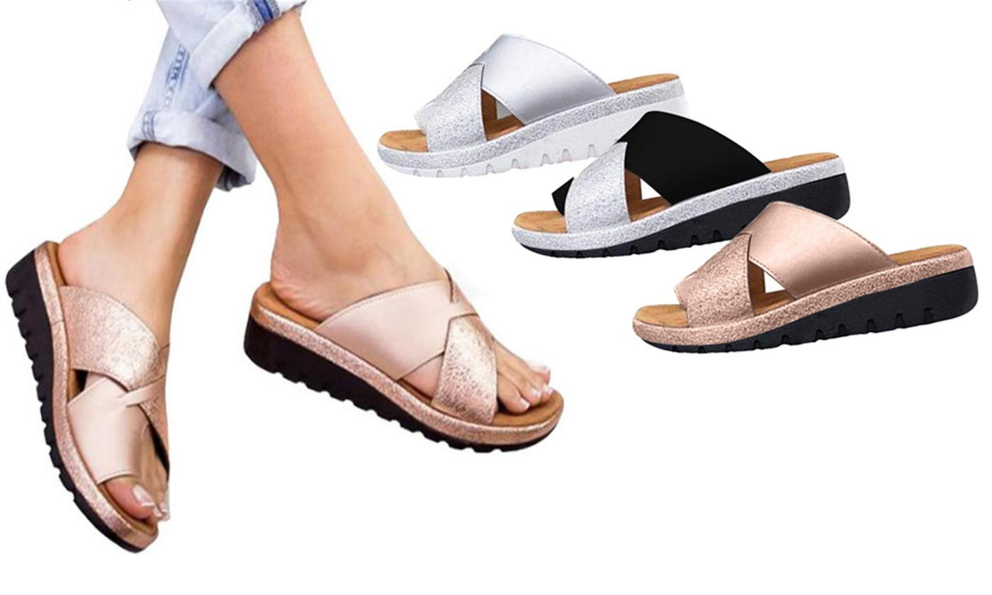 Metallic Bunion Corrector Sandals