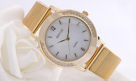 Montre ornée de cristaux Swarovski® de la marque Mestigé collection Antoine, livraison offerte