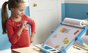 Melissa & Doug Double-Sided Magnetic Tabletop Easel and Chalk Board