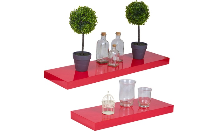 One, Two or Three Peko High Gloss Red Floating Shelves