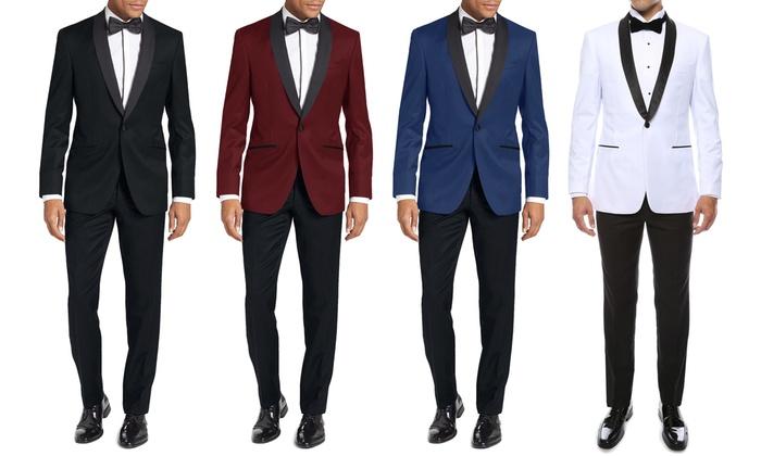 Eleganza Platinum Men's Modern-Fit Shawl-Lapel Tuxedos (2-Piece)
