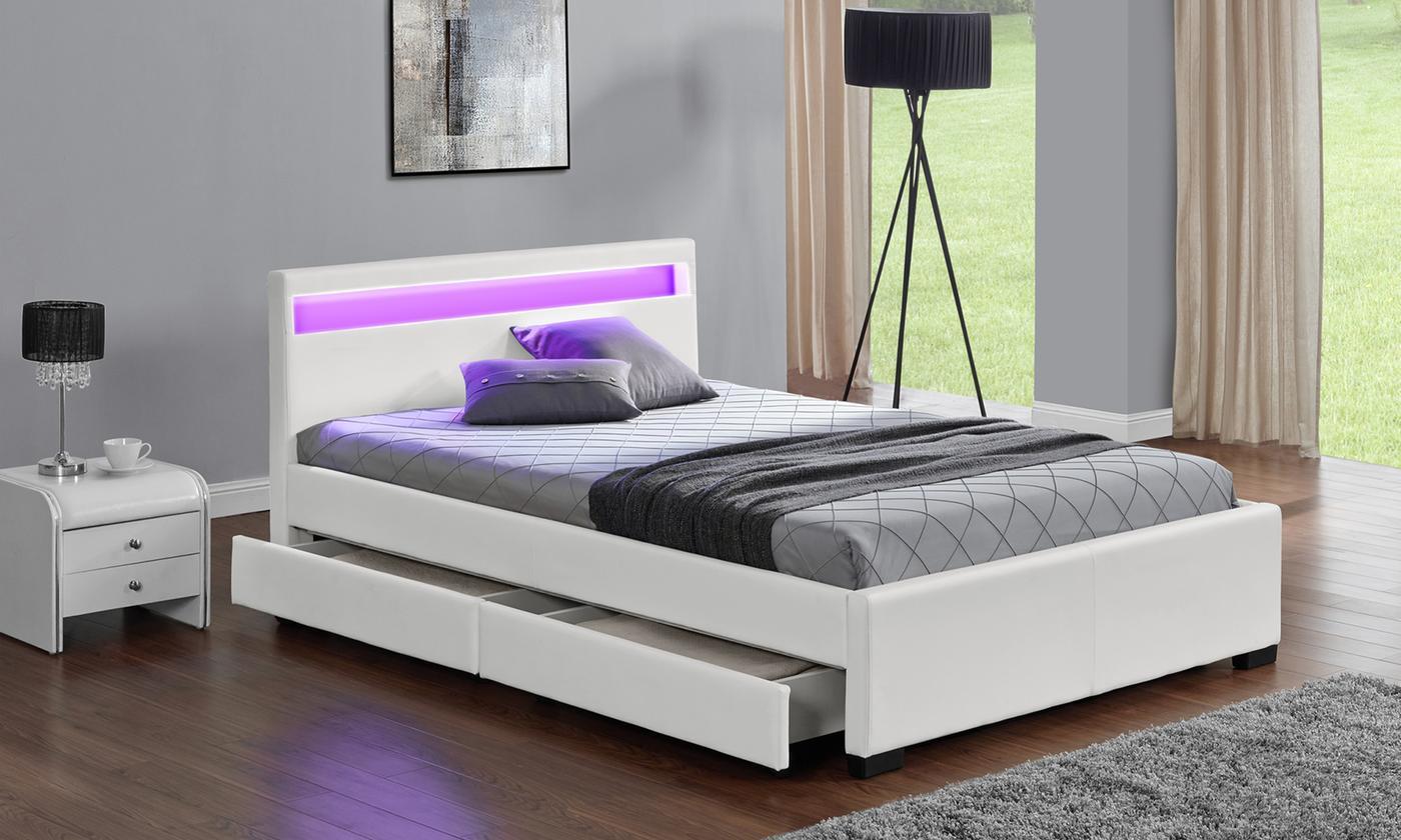 Lit LED avec matelas à mémoire de forme en option, livraison offerte.