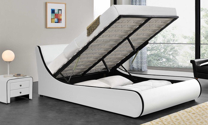 lit coffre aster en simili cuir groupon shopping. Black Bedroom Furniture Sets. Home Design Ideas