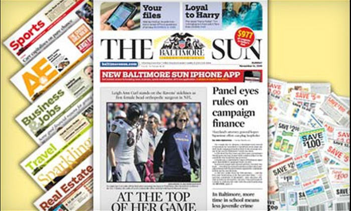 "The Baltimore Sun - Owen Brown: $10 for a 26-Week Weekend Subscription to the ""The Baltimore Sun"" ($75.79 Value)"