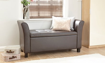 Verona PU Leather Storage Window Seat in Black or Brown for £89.99 With Free Delivery (60% Off)
