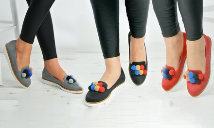 Women's White Sole PomPom Loafers