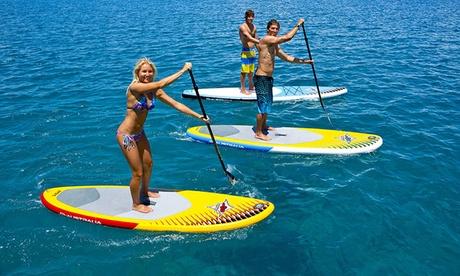 Bautismo de paddle surf para 1 o 2 con todo el material necesario incluido desde 12 € en Escola de Surf Gregal