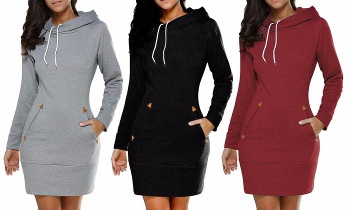 Kleid mit Kapuze für Damen   Groupon 3c72e76844