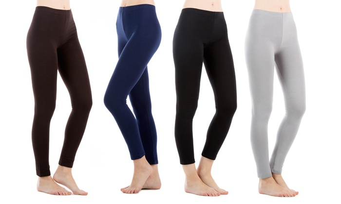 Sociology Stretchy Cotton-Blend Leggings (4-Pack) | Groupon Exclusive
