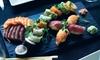 Sushi-Platte mit Suppe & Dessert