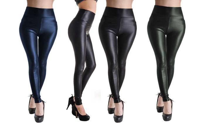 High Waist Leather-Look Skinny Fit Leggings