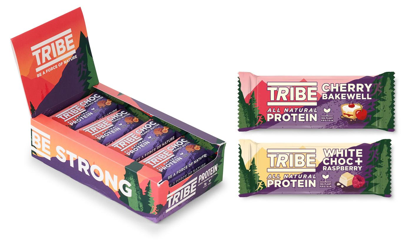Choice of 16-Piece TRIBE Protein Bar Pack of 58g In Different Flavors