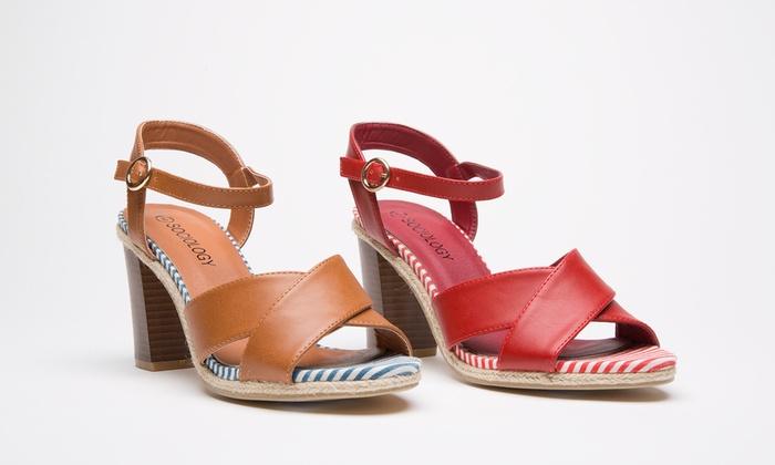 Sociology Women's Block-Heel Strappy Sandals | Groupon Exclusive