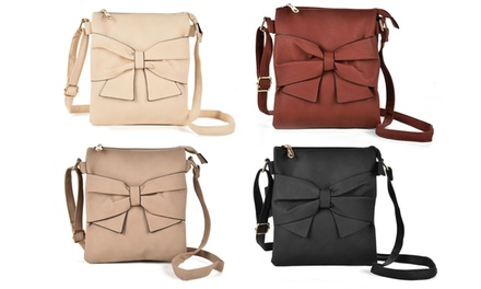 Zip-Top Crossbody Bag with Bow Detail