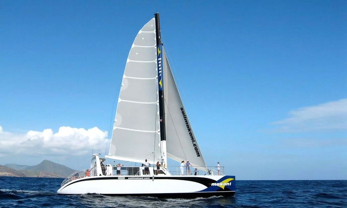 Makani Catamaran - Ala Moana - Kakaako: Afternoon Sail, Dinner Cruise, or Snorkeling & Lunch Sail for a Child or Adult from Makani Catamaran (49% Off)