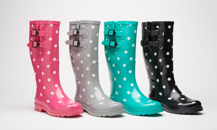 Sociology Women's Polka-Dot Rain Boots | Groupon Exclusive