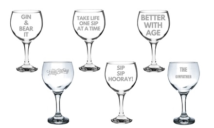 One or Two 645ml Balloon Gin Glasses with Quotes