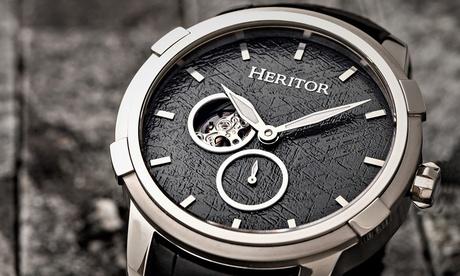 Reloj semi-esqueleto automático de cuero genuino Heritor Callisto
