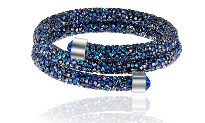 Crystal Dust Double Wrap Bracelet Made with Swarovski Elements