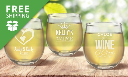 Free Shipping: for a Personalised Stemless Wine Glass Don't Pay up to $239.92