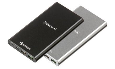 Black or Silver Intenso 10000 mAh Quick Charge Power Bank