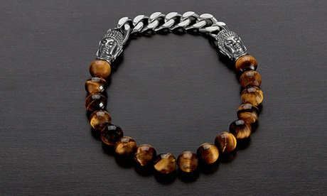 Men's Stainless Steel Buddha and Natural Stone Beaded Bracelet by Crucible