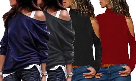 1 o 2 camisetas con hombros descubiertos
