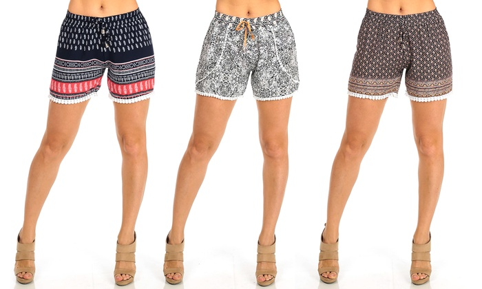 Women's Junior High-Rise Printed Rayon Shorts