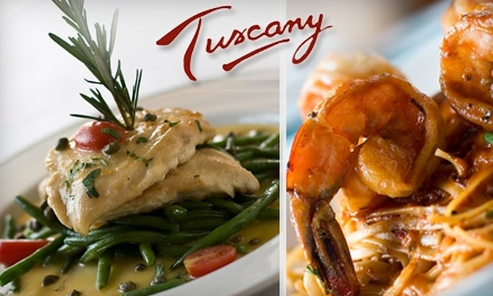Tuscany - Multiple Locations: $25 for $50 Worth of Gourmet Italian Cuisine and Drinks at Tuscany