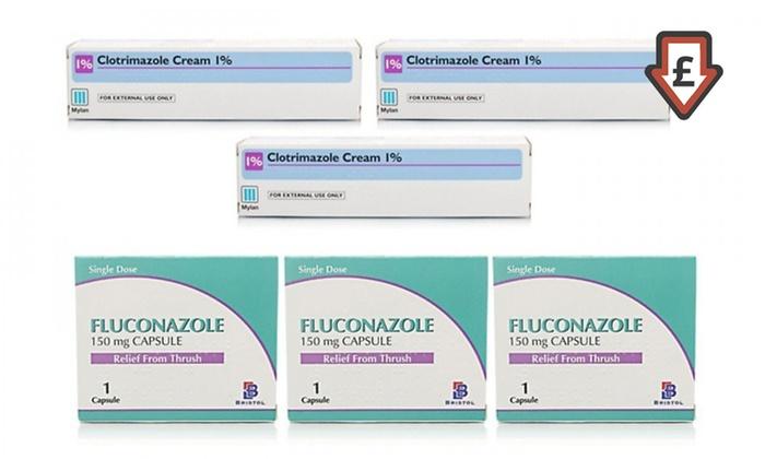 Thrush Treatment: Clotrimazole Cream Three-Pack, Fluconazole Capsules Three-Pack or Both From £6.98