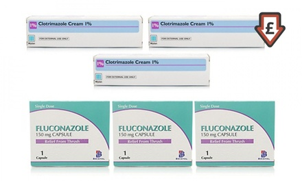 Thrush Treatment: Clotrimazole Cream ThreePack, Fluconazole Capsules ThreePack or Both