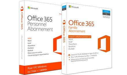 Microsoft Office 365 Personnel ou famille, un an