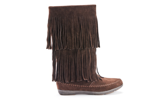 Women's Fringed Mid-Calf Boots | Groupon Goods