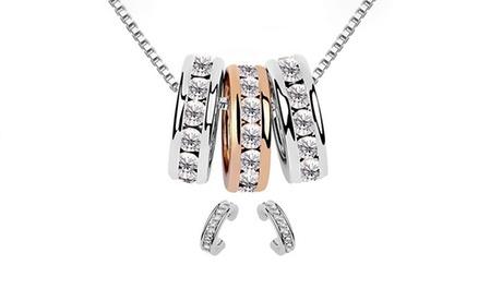 1 o 2 sets de collar y pendientes Loop Victorias Candy bañados en plata y decorados con cristales Oferta en Groupon