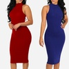 Women's Junior Sleeveless Mock-Neck Midi Dress