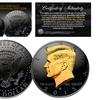 Black Ruthenium-Clad 2015 Half Dollar Coin with Gold-Clad JFK Portrait