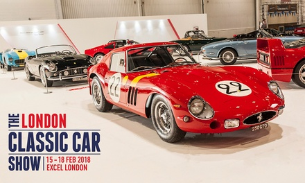 London Classic Car Show, 16–18 February 2018 at ExCeL London (Up to 26% Off)