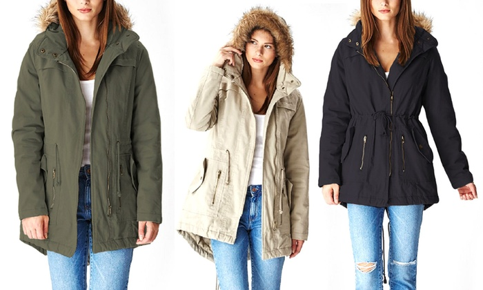 Women&39s Cotton Parka with Hood | Groupon Goods