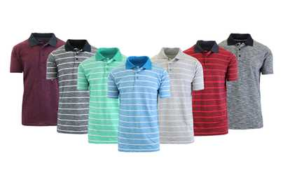 Shop Groupon Men\u0027s Marled and Striped Knit Polo-Slim Fit