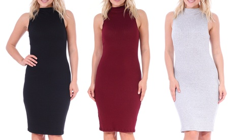 Women's Sleeveless Ribbed Bodycon Midi Dress 097cda2a-61cf-45e0-8a35-dddee8ee7391