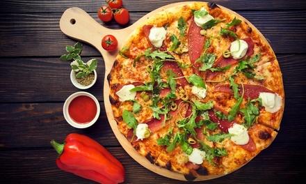 Große Pizza, Salat, Pizzabrötchen und Getränk, auch zum Mitnehmen, bei Pizza Pasta Burger Factory (bis zu 57% sparen*)